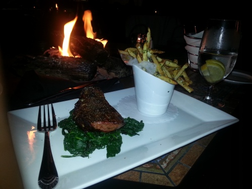 Prime Top Sirloin, Gorgonzola, Wilted Spinach, Sea Salt Fries, White Truffle Oil